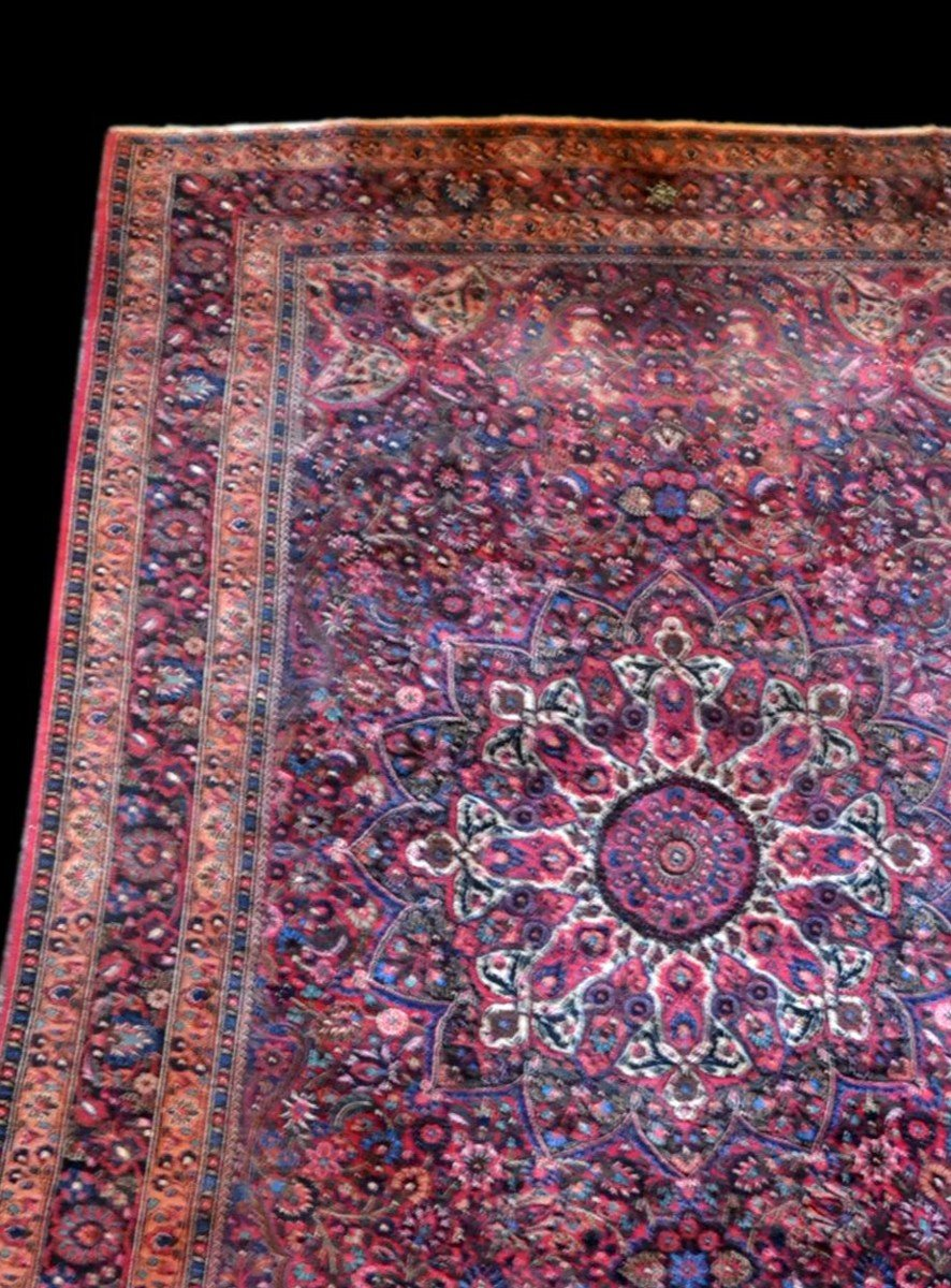 Old Persian Macchad Rug, Signed, 204 Cm X 320 Cm, Iran, Hand-knotted Wool, Good Condition-photo-4