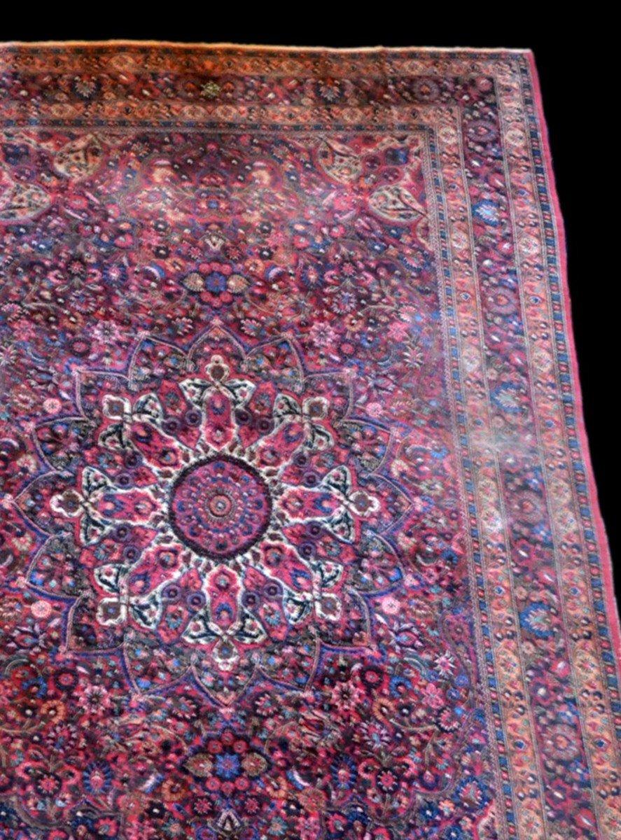 Tapis Persan Macchad ancien, signé, 204 cm x 320 cm, Iran, laine nouée main, bel état-photo-1