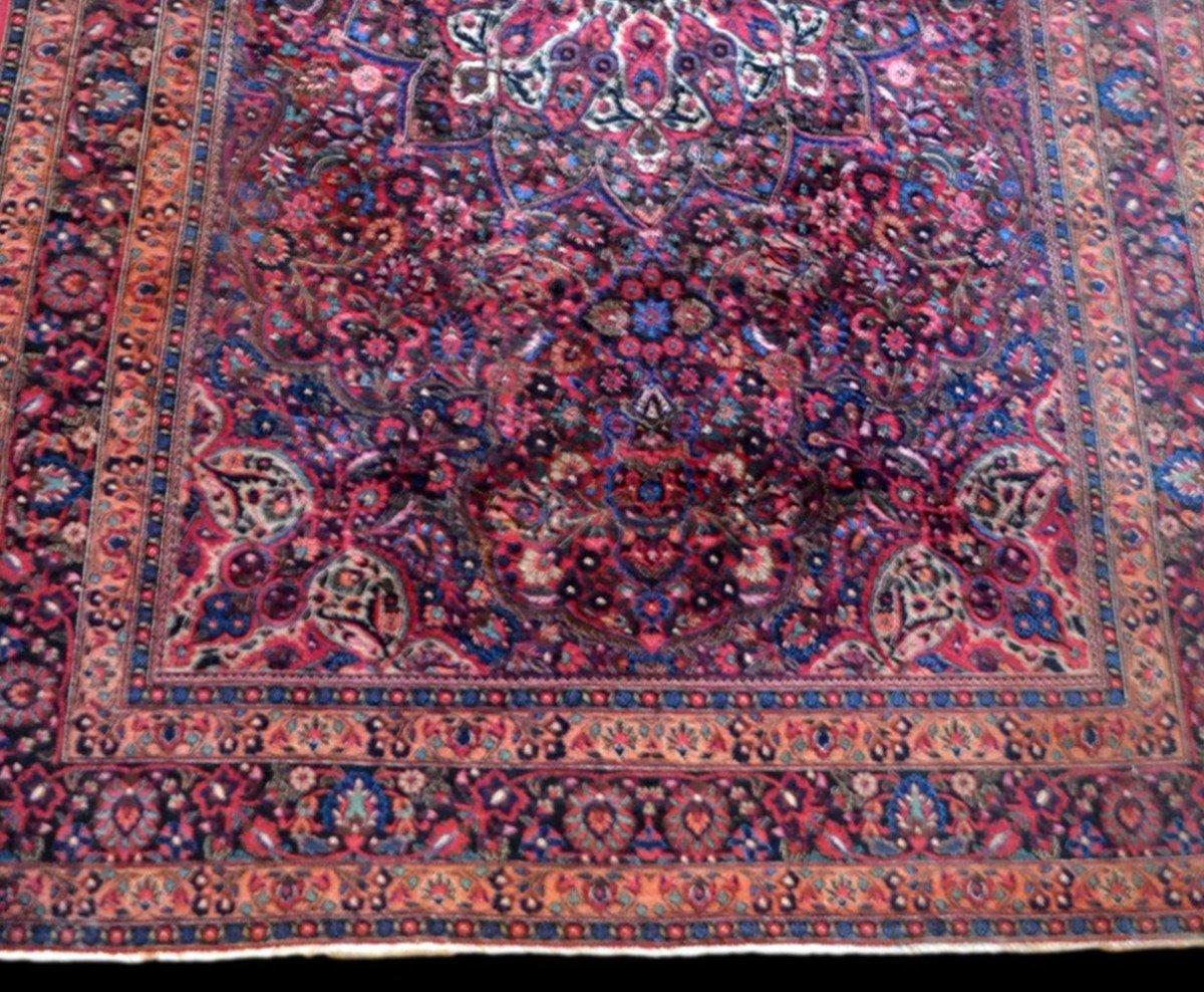 Tapis Persan Macchad ancien, signé, 204 cm x 320 cm, Iran, laine nouée main, bel état-photo-3
