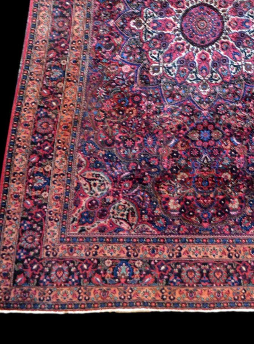 Tapis Persan Macchad ancien, signé, 204 cm x 320 cm, Iran, laine nouée main, bel état-photo-4