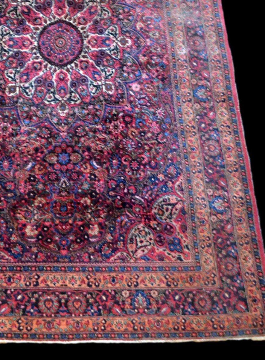 Tapis Persan Macchad ancien, signé, 204 cm x 320 cm, Iran, laine nouée main, bel état-photo-5