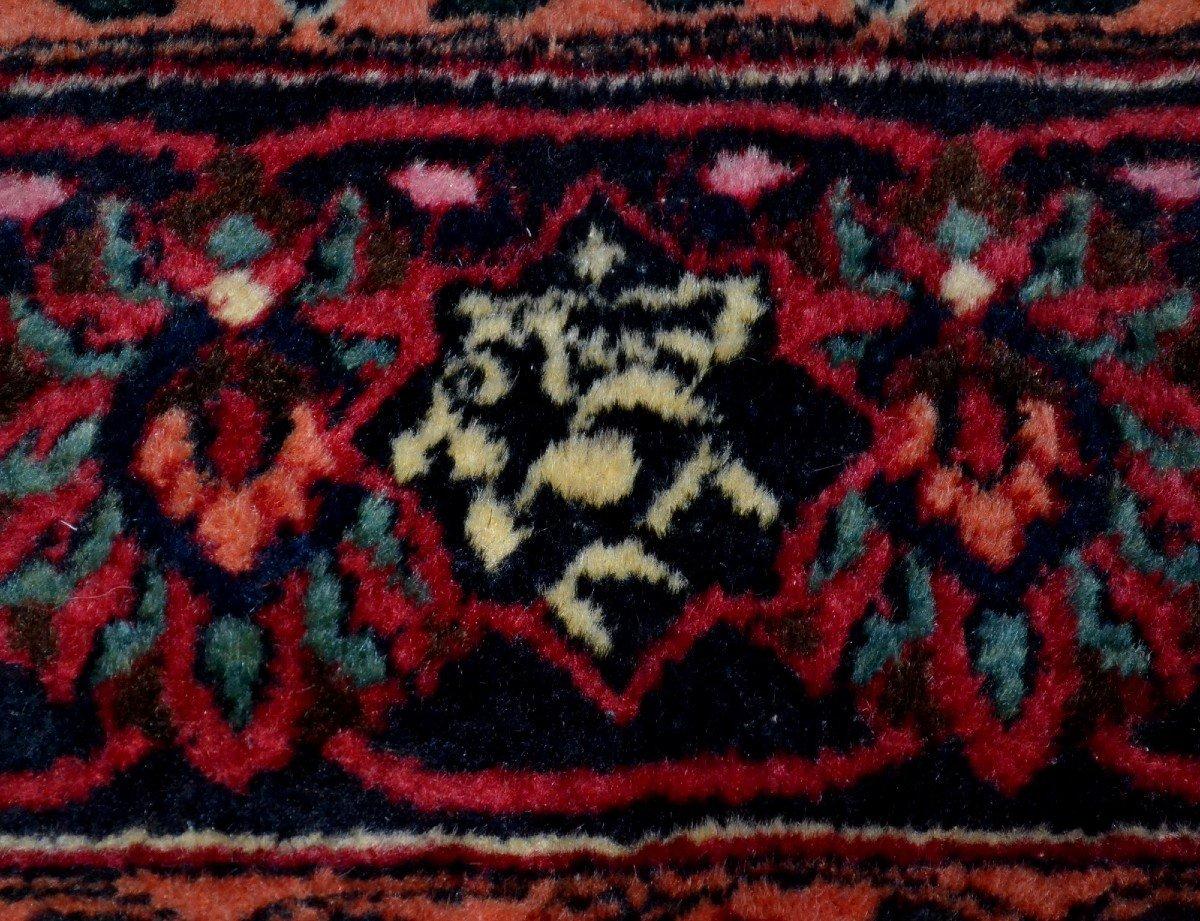 Tapis Persan Macchad ancien, signé, 204 cm x 320 cm, Iran, laine nouée main, bel état-photo-6