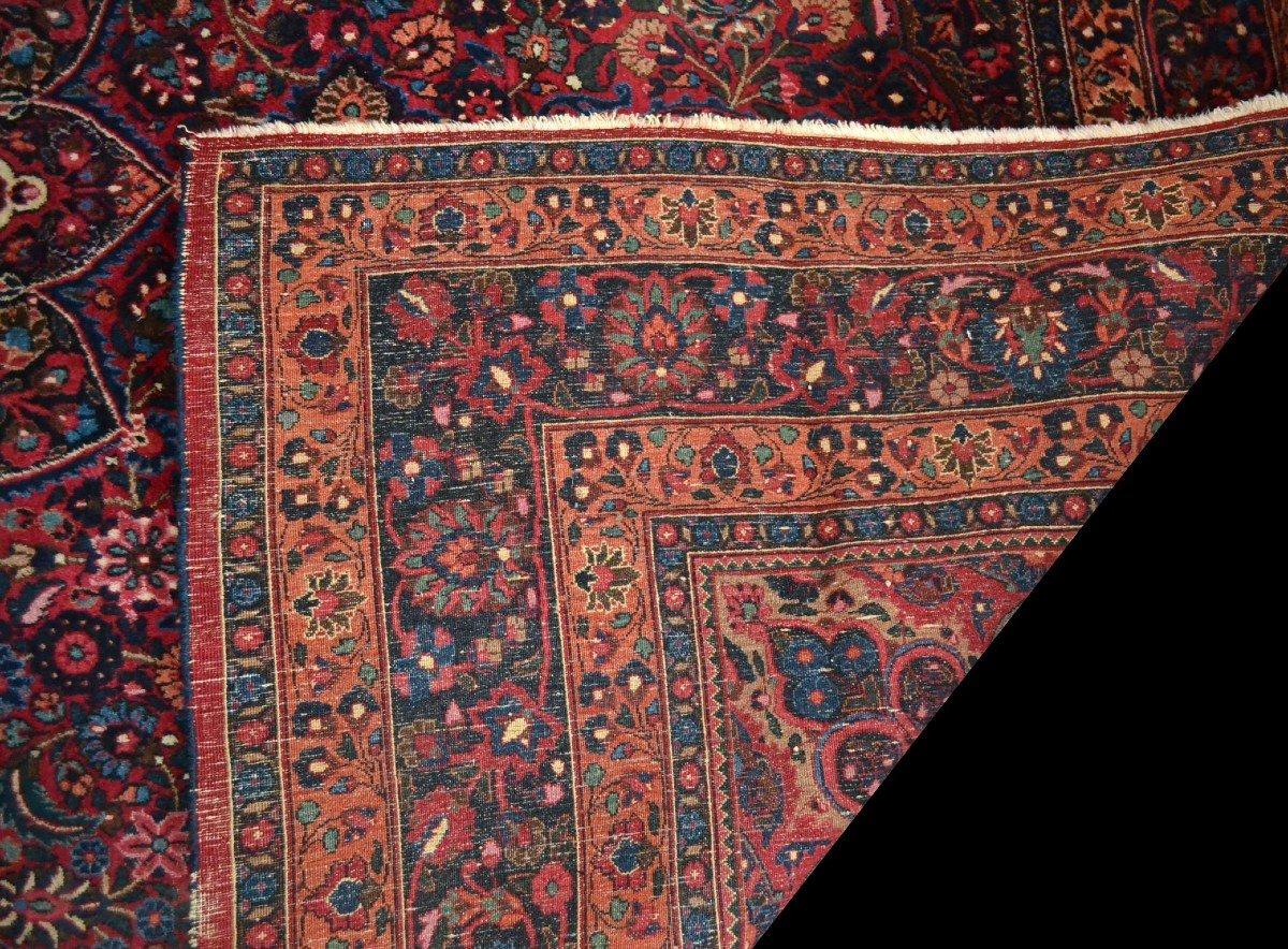 Tapis Persan Macchad ancien, signé, 204 cm x 320 cm, Iran, laine nouée main, bel état-photo-7