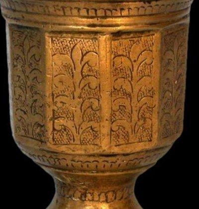 Rare mortier en bronze ciselé Indo-moghol, Inde, XIXème siècle, -photo-1