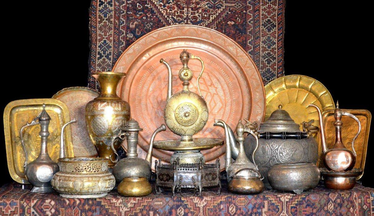 Rare mortier en bronze ciselé Indo-moghol, Inde, XIXème siècle, -photo-5