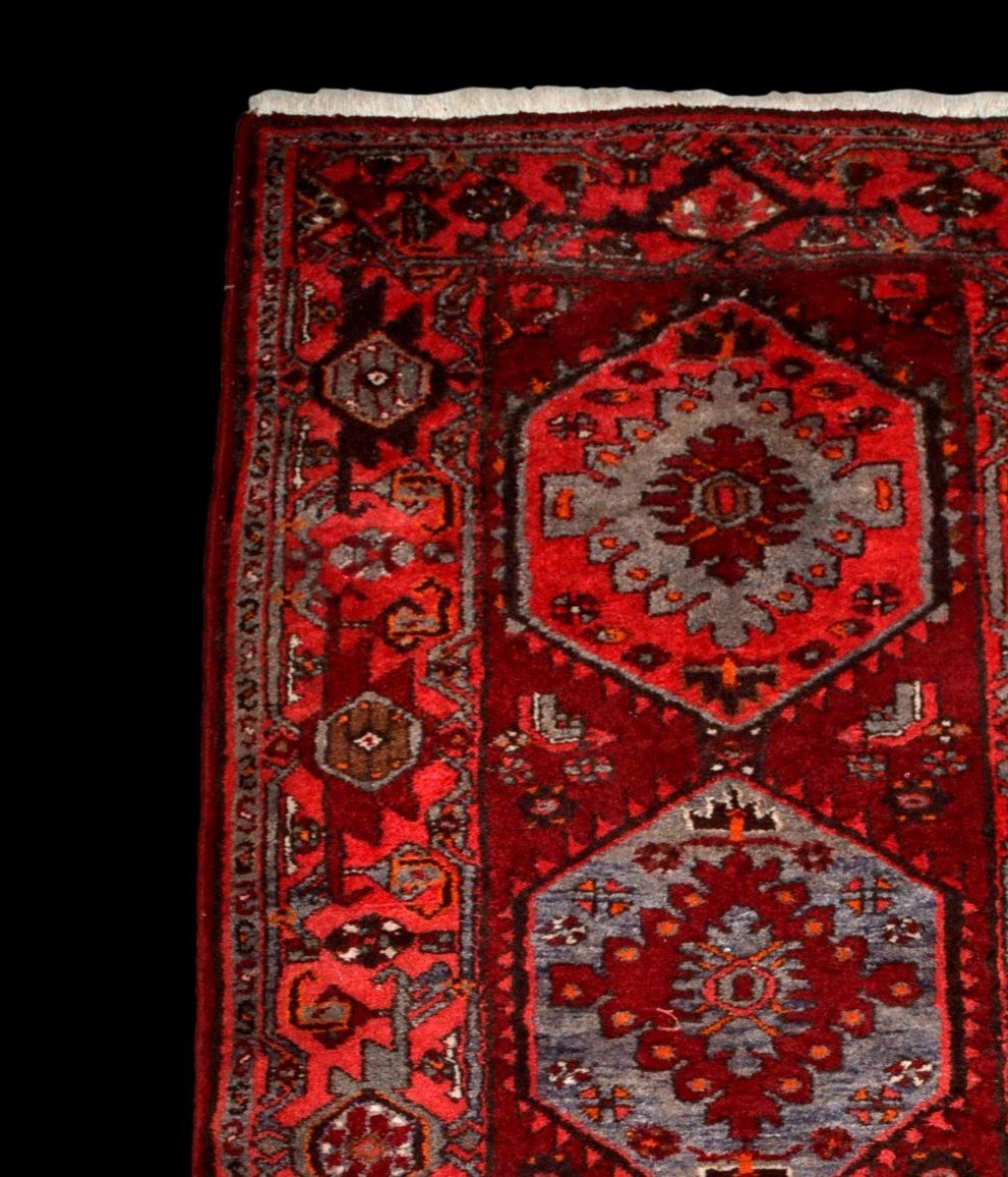 Tapis Persan Hamadan, Iran, 110 cm x 204 cm, laine nouée main vers 1970, parfait état-photo-3