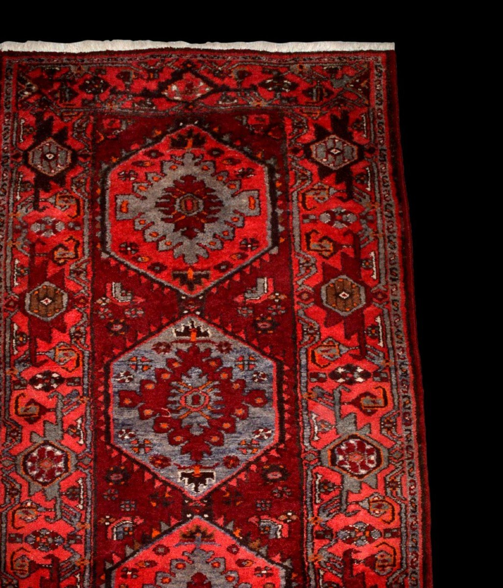 Tapis Persan Hamadan, Iran, 110 cm x 204 cm, laine nouée main vers 1970, parfait état-photo-4
