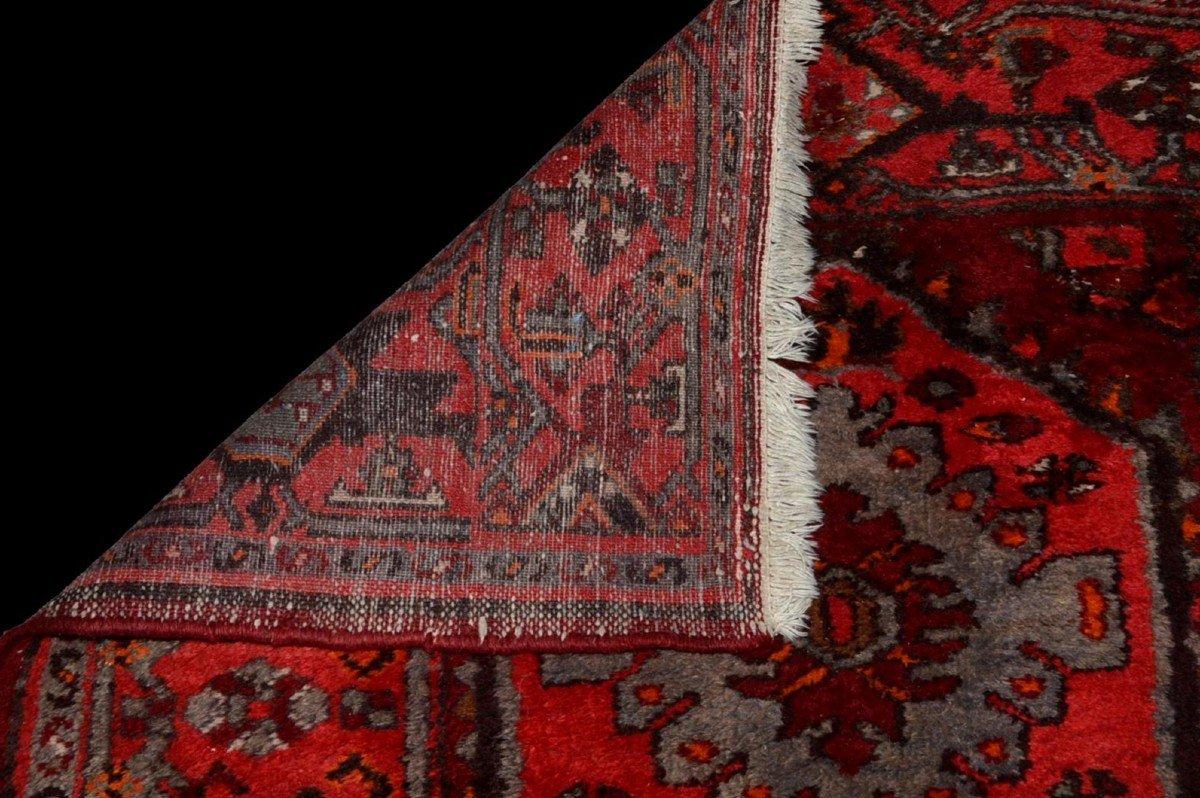 Tapis Persan Hamadan, Iran, 110 cm x 204 cm, laine nouée main vers 1970, parfait état-photo-7