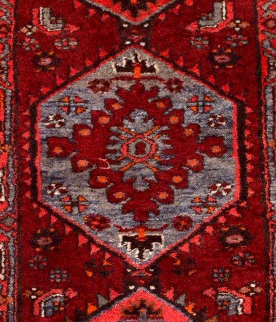 Tapis Persan Hamadan, Iran, 110 cm x 204 cm, laine nouée main vers 1970, parfait état-photo-5
