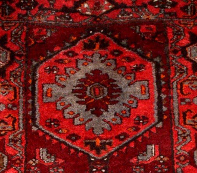 Tapis Persan Hamadan, Iran, 110 cm x 204 cm, laine nouée main vers 1970, parfait état-photo-6