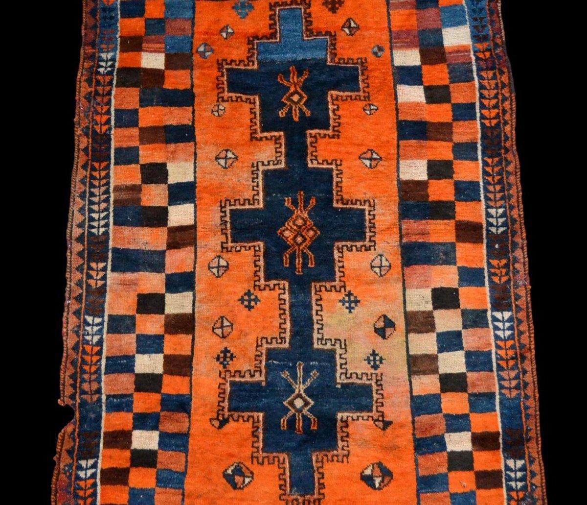 Tapis Gabbeh ancien, Iran, 126 cm x 196 cm, laine nouée main, début du XXème Siècle, rare-photo-1