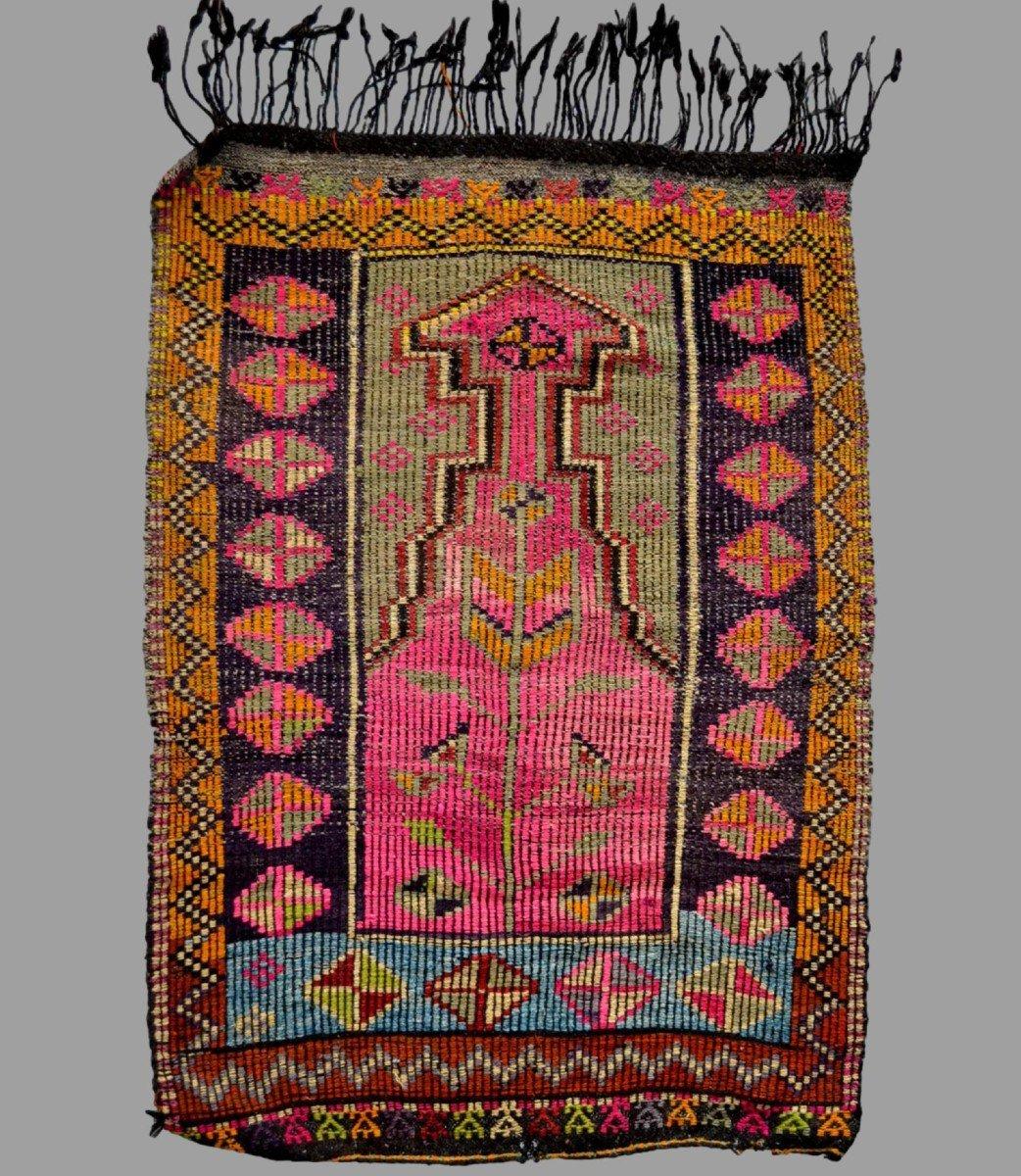 Rare, tapis de prière ancien en crin, 97 cm x 138 cm, Anatolie, Turquie, début XXème, -photo-2