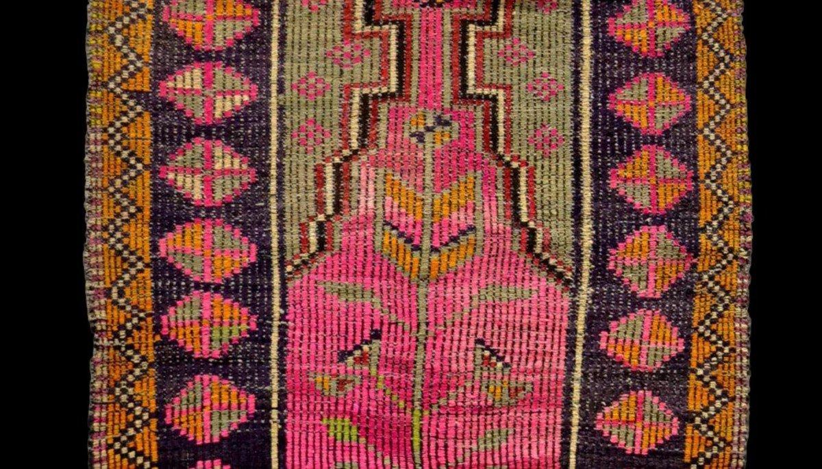 Rare, tapis de prière ancien en crin, 97 cm x 138 cm, Anatolie, Turquie, début XXème, -photo-1