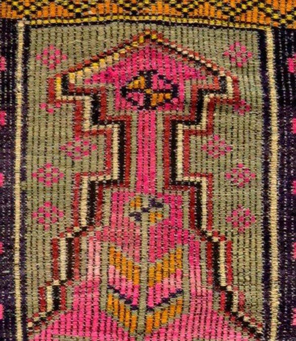 Rare, tapis de prière ancien en crin, 97 cm x 138 cm, Anatolie, Turquie, début XXème, -photo-5