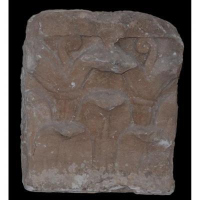 Pierre Sculptée d'Une Feuille d'Acanthe époque Médiévale - France