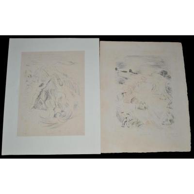 André DUNOYER DE SEGONZAC (1884 - 1974) - Les Fenaisons I et II - Circa 1925 - 3-25 et 6-25