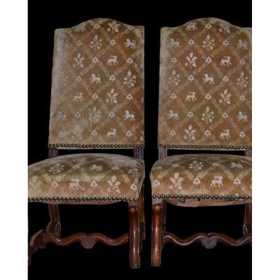 Pair Of Walnut Chairs Louis XIV - XVII Th Century