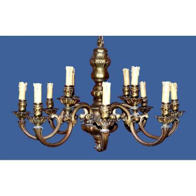 Lustre à 12 lampes en Bronze Doré de Style Louis XIV, France vers 1890