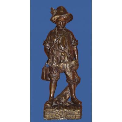 """Auguste CACE, """" Bronze d'un enfant chasseur """"  fin du XIXème siècle"""