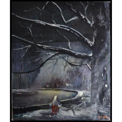 """Karel WOUTERS (1892-1965)  """"Neige Sur Le Canal """"  datée 1948"""