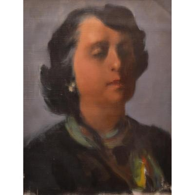 Dick LUSBY , Portrait USA vers 1950/1960, peintre américain, huile sur toile
