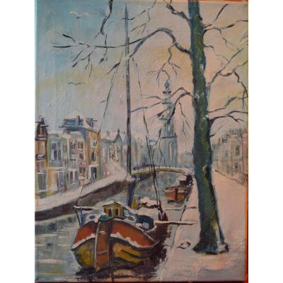 KELDERMAN Jan (1914 - 1990) attribué à - Les Quais sous la Neige - circa 1945