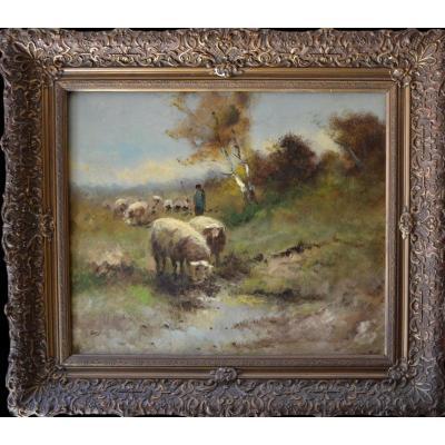 LANGE - Moutons au pré - circa 1920