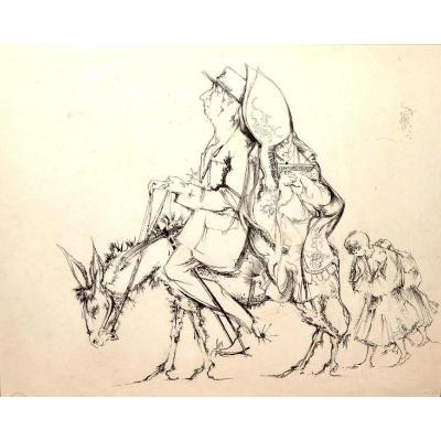 Luc SIMON  (1924 - 2011), dessin satirique à la plume, 1960