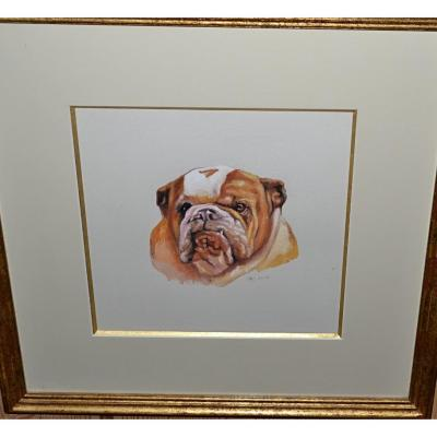 BLANC Robert - Aquarelle d'un portrait de chien - circa 2001