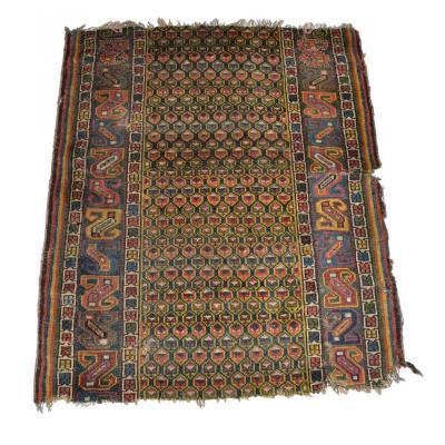 Tapis Daghestan Ancien, Caucase, 95 cm x 114 cm, Rare fragment, Vers 1860