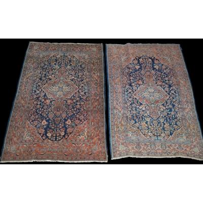Pair De Sarough Rugs, Iran, 135 X 197 Cm, Kork Wool Knotted Hand, Early 20th Century