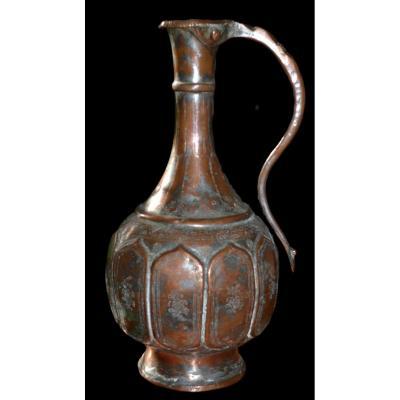 Aiguière, Art Ottoman, Turquie, Argent Sur Cuivre - Empire Ottoman - Fin Du XVIIIème Siècle
