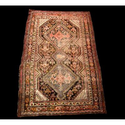 Carpet Gashghaï, Iran, Wool On Wool, 136 Cm X 201 Cm, XIXth Century, Superb