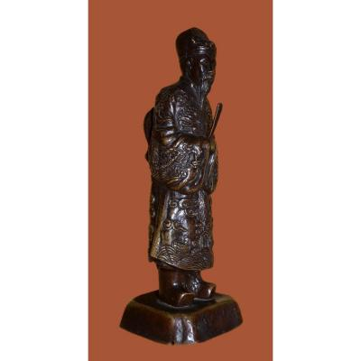 Ancient Bronze Of Dignitary On Base, Asia, XIXth Century