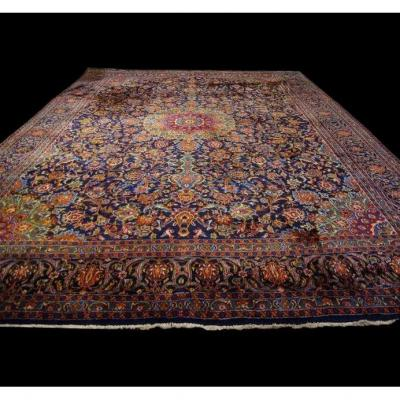 Persian Kashan Rug, Iran, 295 Cm X 392 Cm, Hand Knotted, Around 1970 In Very Good Condition
