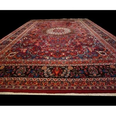 Persian Masshad Rug, 260 Cm X 402 Cm, Iran, Hand-knotted Wool, 1970, Superb Condition
