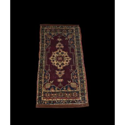 Antique Hereké Carpet, Turkey, 55 Cm X 102 Cm, Hand Knotted Wool, Mid XIXth Century