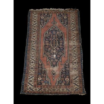 Old Persian Maslaghan Carpet, 124 Cm X 198 Cm, Iran, Hand Knotted Wool, XIXth Century