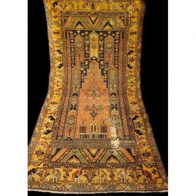Yahyali Carpet Of Ancient Prayer, 118 Cm X 228 Cm, Anatolia, Turkey, Beginning Of XXth Century
