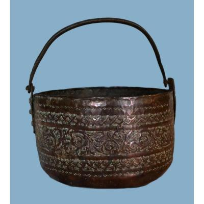 Engraved Red Copper Cauldron, Iran, Persia, Beginning Of XIXth Century