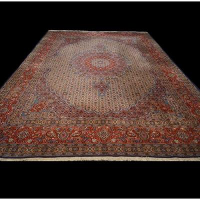 Moud Mahi Carpet, 8'3 X12', Wool And Silk, 1980, Great Conditions