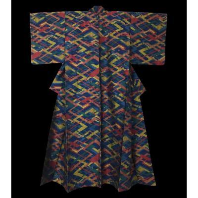 Kimono Yonezawa Tsumugi, Ancien, en Soie, Japon, début de l'ère Showa, vers 1940