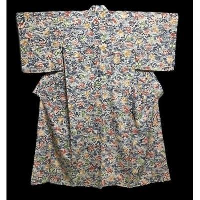 Kimono Komon doublé, en soie naturelle, Japon vers 1960, Très bon état