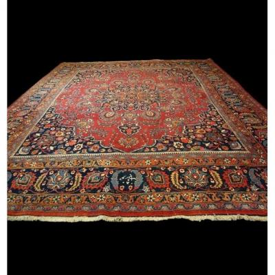 Persian Macchad Rug Signed, 300 Cm X 350 Cm, Iran, Hand Knotted Wool, Around 1970, Very Good Condition