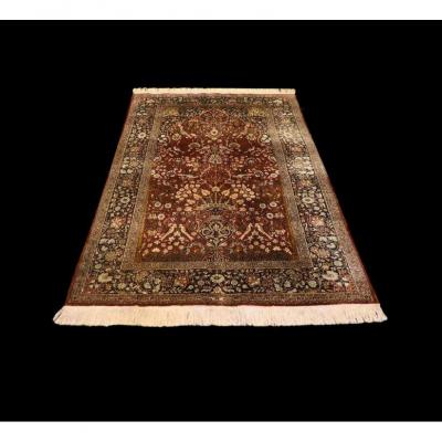 Old Cashmere Carpet, Silk, 125 Cm X 182 Cm, Circa 1950, In Beautiful Condition And Superb Patina