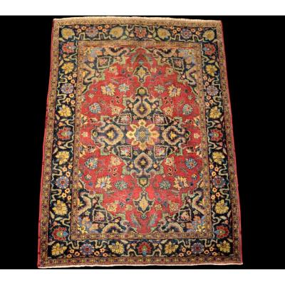 Old Persian Sarough Carpet, 130 Cm X 185 Cm, Silk And Wool, Iran, Good Condition, XIXth Century