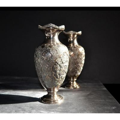 Pair Of Vases, Solid Silver, Iran, XIX Century, Perfect