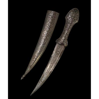 Dagger, Syria, Silver Niello Iron With Double Edges, Late 19th Century, Very Good Condition