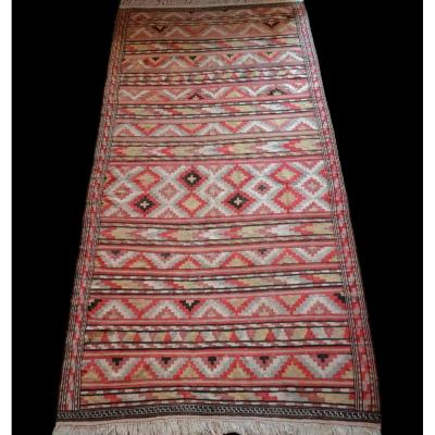 Old Kilim Senneh, 180 Cm X 364 Cm, Iran, Hand Knotted, Circa 1950, Superb Condition