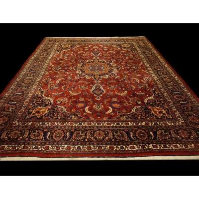 Persian Rug Macchad Signed, 303 Cm X 374 Cm, Iran, Hand-knotted Wool Circa 1960, Very Good Condition
